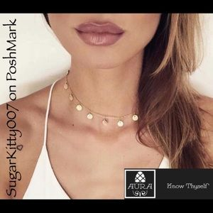 Gold Dangle Coin Dainty Choker Necklace Simple